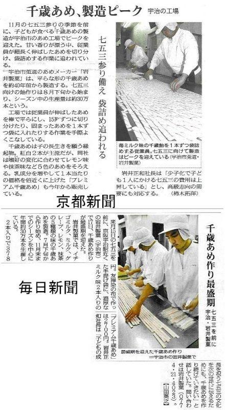 千歳飴、毎日新聞・京都新聞
