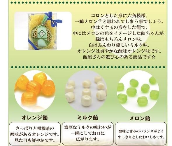 メロン・ミルク・オレンジ飴